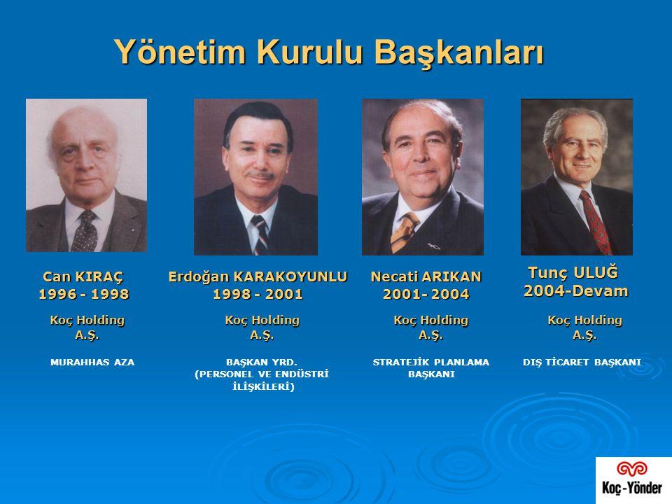 Yönetim Kurulu Başkanları Tunç ULUĞ Tunç ULUĞ 2004-Devam Necati ARIKAN 2001- 2004 Erdoğan KARAKOYUNLU 1998 - 2001 Can KIRAÇ Can KIRAÇ 1996 - 1998 Koç