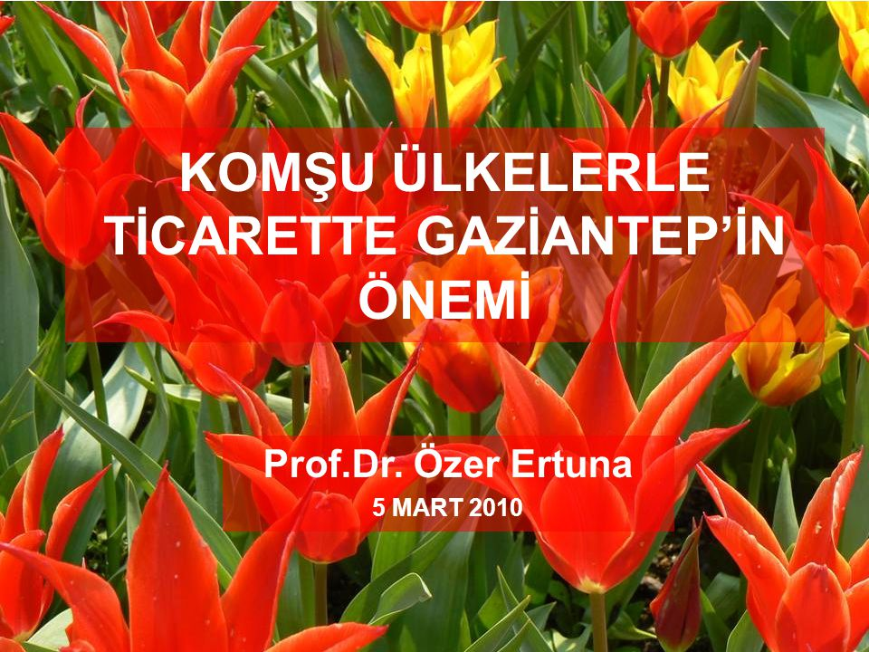 KOMŞU ÜLKELERLE TİCARETTE GAZİANTEP'İN ÖNEMİ Prof.Dr. Özer Ertuna 5 MART 2010