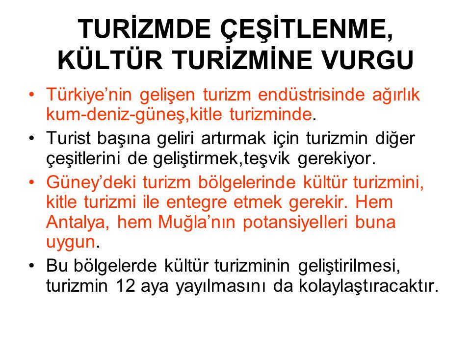 TURİZMDE ÇEŞİTLENME, KÜLTÜR TURİZMİNE VURGU •Türkiye'nin gelişen turizm endüstrisinde ağırlık kum-deniz-güneş,kitle turizminde. •Turist başına geliri