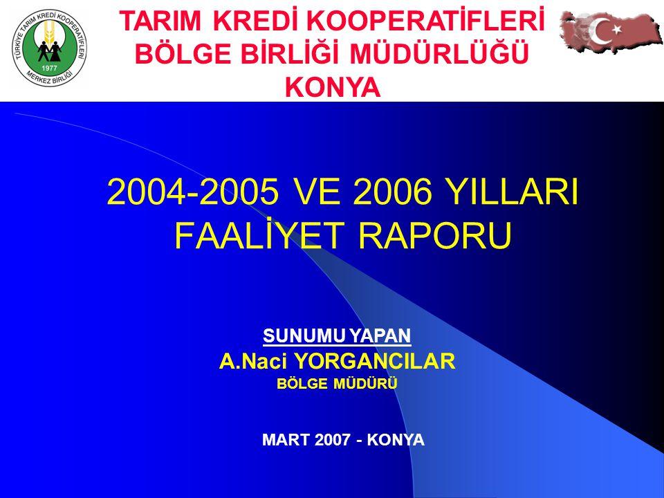 2004-2005 VE 2006 YILLARI FAALİYET RAPORU SUNUMU YAPAN A.Naci YORGANCILAR BÖLGE MÜDÜRÜ TARIM KREDİ KOOPERATİFLERİ BÖLGE BİRLİĞİ MÜDÜRLÜĞÜ KONYA MART 2
