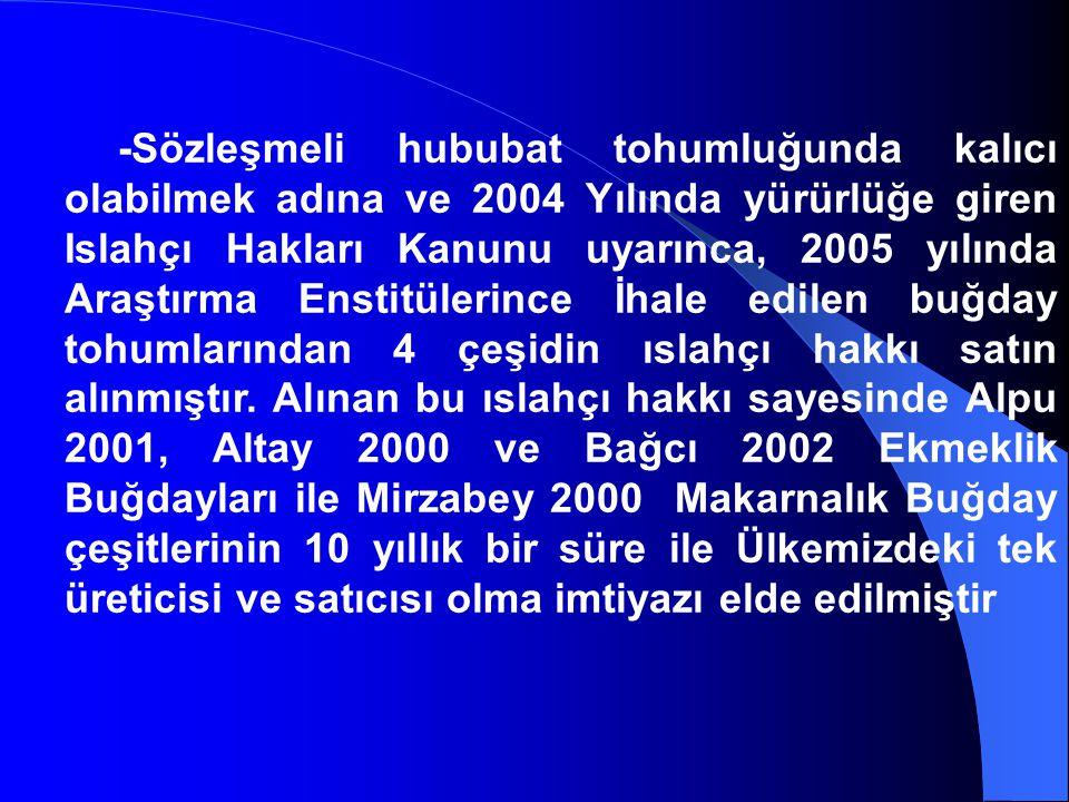 -Sözleşmeli hububat tohumluğunda kalıcı olabilmek adına ve 2004 Yılında yürürlüğe giren Islahçı Hakları Kanunu uyarınca, 2005 yılında Araştırma Enstit
