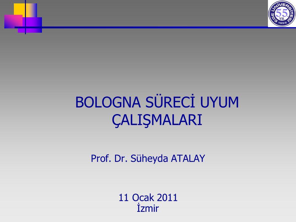 BOLOGNA SÜRECİ UYUM ÇALIŞMALARI Prof. Dr. Süheyda ATALAY 11 Ocak 2011 İzmir