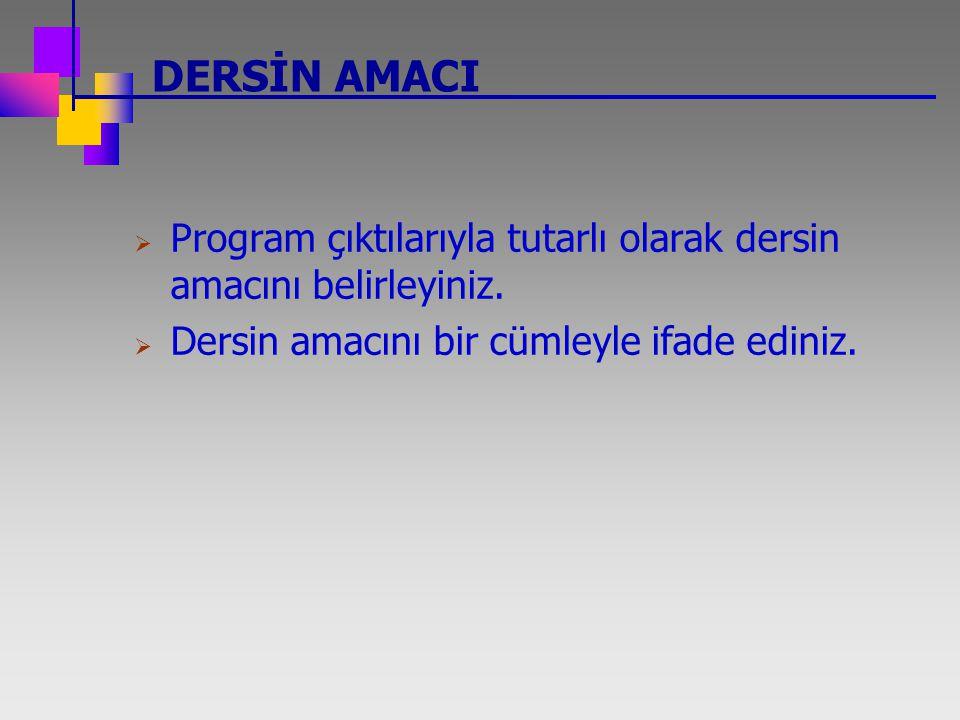 DERSİN AMACI  Program çıktılarıyla tutarlı olarak dersin amacını belirleyiniz.  Dersin amacını bir cümleyle ifade ediniz.