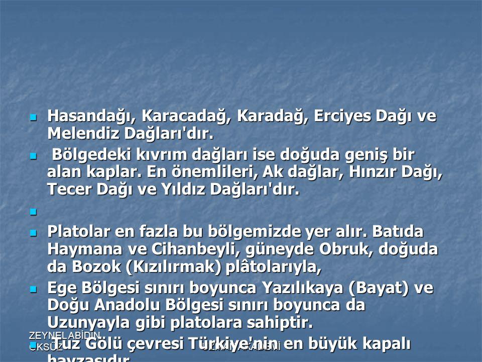 ZEYNEL ABİDİN ÖKSÜZUZMAN AKADEMİ  Hasandağı, Karacadağ, Karadağ, Erciyes Dağı ve Melendiz Dağları dır.