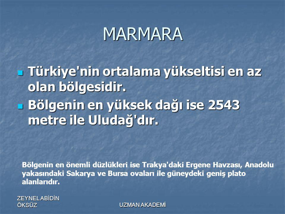 ZEYNEL ABİDİN ÖKSÜZUZMAN AKADEMİ MARMARA  Türkiye nin ortalama yükseltisi en az olan bölgesidir.