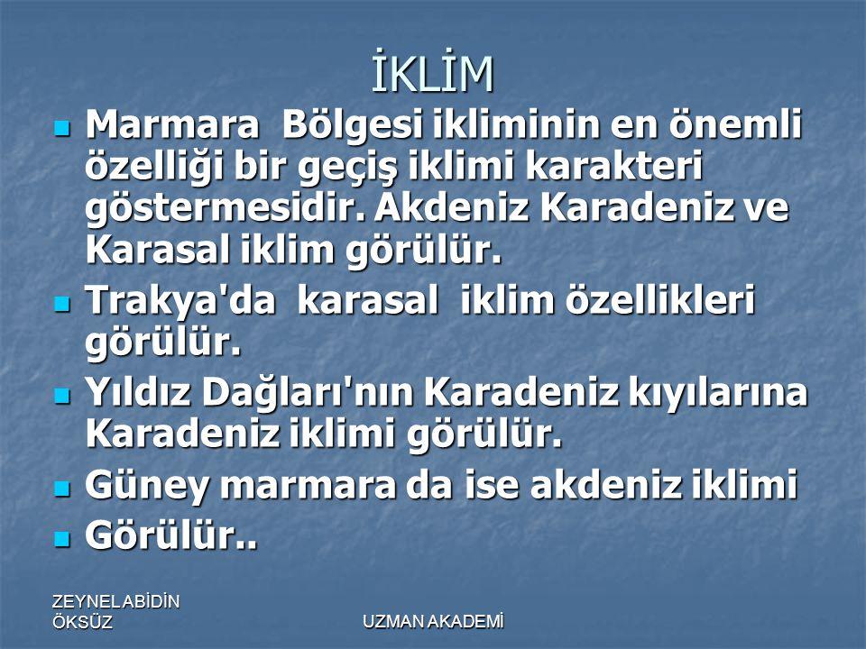 ZEYNEL ABİDİN ÖKSÜZUZMAN AKADEMİ İKLİM  Marmara Bölgesi ikliminin en önemli özelliği bir geçiş iklimi karakteri göstermesidir.