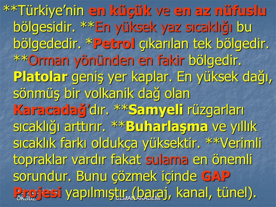 ZEYNEL ABİDİN ÖKSÜZUZMAN AKADEMİ **Türkiye'nin en küçük ve en az nüfuslu bölgesidir.