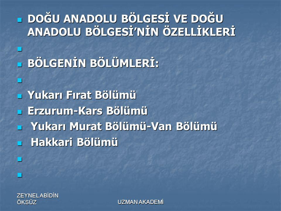 ZEYNEL ABİDİN ÖKSÜZUZMAN AKADEMİ  DOĞU ANADOLU BÖLGESİ VE DOĞU ANADOLU BÖLGESİ'NİN ÖZELLİKLERİ   BÖLGENİN BÖLÜMLERİ:   Yukarı Fırat Bölümü  Erzurum-Kars Bölümü  Yukarı Murat Bölümü-Van Bölümü  Hakkari Bölümü  