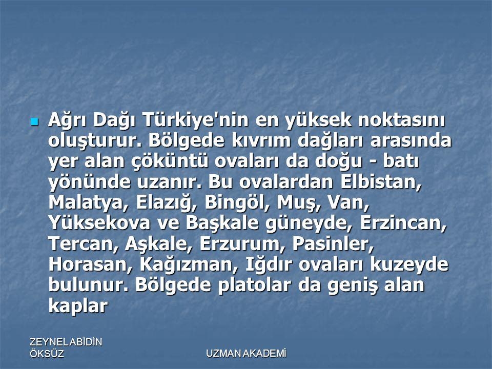 ZEYNEL ABİDİN ÖKSÜZUZMAN AKADEMİ  Ağrı Dağı Türkiye nin en yüksek noktasını oluşturur.