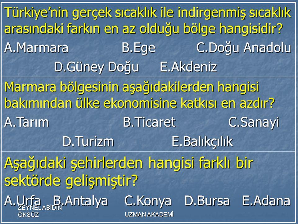 ZEYNEL ABİDİN ÖKSÜZUZMAN AKADEMİ Türkiye'nin gerçek sıcaklık ile indirgenmiş sıcaklık arasındaki farkın en az olduğu bölge hangisidir.