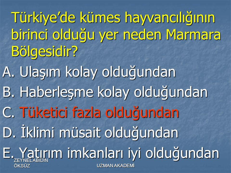 ZEYNEL ABİDİN ÖKSÜZUZMAN AKADEMİ Türkiye'de kümes hayvancılığının birinci olduğu yer neden Marmara Bölgesidir.