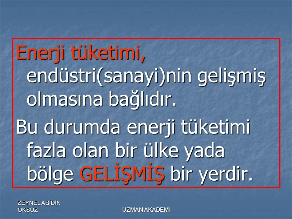 ZEYNEL ABİDİN ÖKSÜZUZMAN AKADEMİ Enerji tüketimi, endüstri(sanayi)nin gelişmiş olmasına bağlıdır.