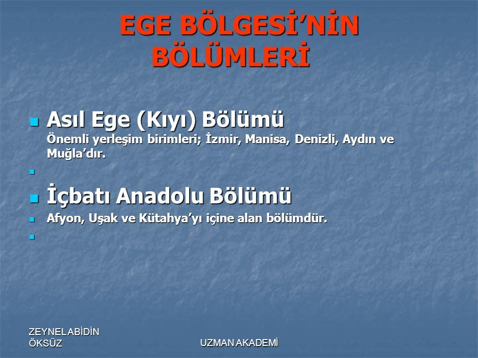 ZEYNEL ABİDİN ÖKSÜZUZMAN AKADEMİ EGE BÖLGESİ'NİN BÖLÜMLERİ EGE BÖLGESİ'NİN BÖLÜMLERİ  Asıl Ege (Kıyı) Bölümü Önemli yerleşim birimleri; İzmir, Manisa, Denizli, Aydın ve Muğla'dır.