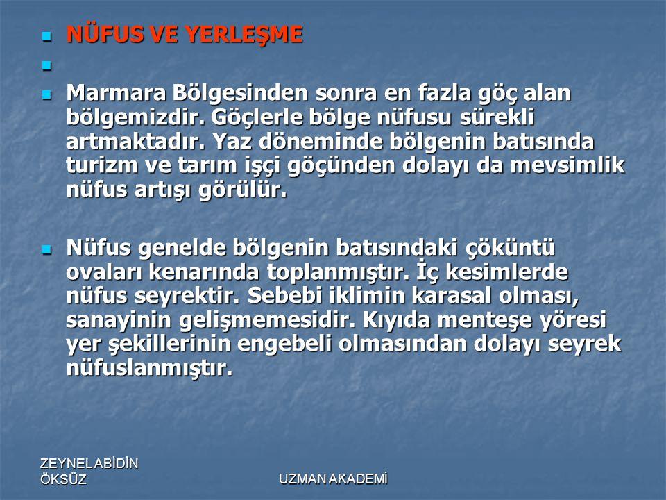 ZEYNEL ABİDİN ÖKSÜZUZMAN AKADEMİ  NÜFUS VE YERLEŞME   Marmara Bölgesinden sonra en fazla göç alan bölgemizdir.