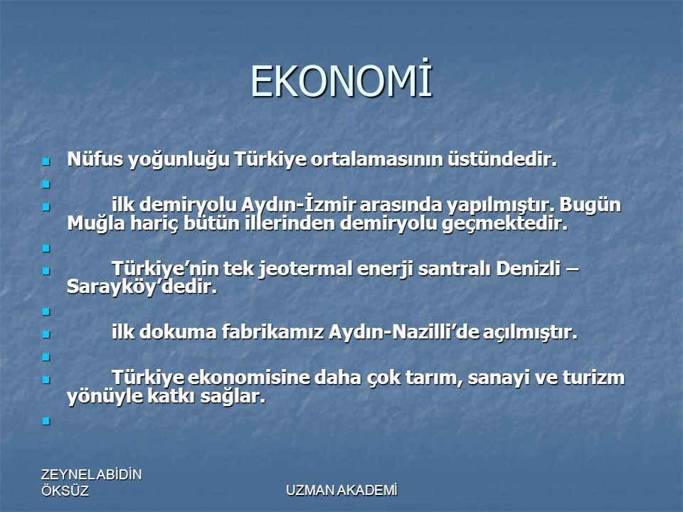 ZEYNEL ABİDİN ÖKSÜZUZMAN AKADEMİ EKONOMİ  Nüfus yoğunluğu Türkiye ortalamasının üstündedir.