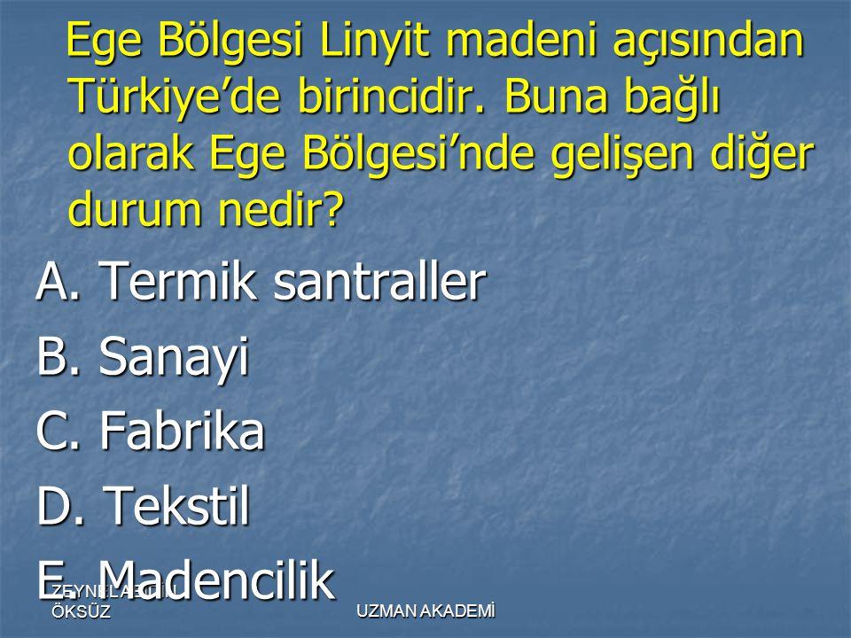ZEYNEL ABİDİN ÖKSÜZUZMAN AKADEMİ Ege Bölgesi Linyit madeni açısından Türkiye'de birincidir.