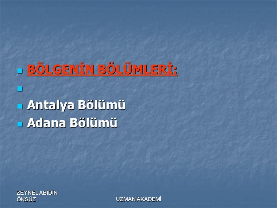 ZEYNEL ABİDİN ÖKSÜZUZMAN AKADEMİ  BÖLGENİN BÖLÜMLERİ:   Antalya Bölümü  Adana Bölümü