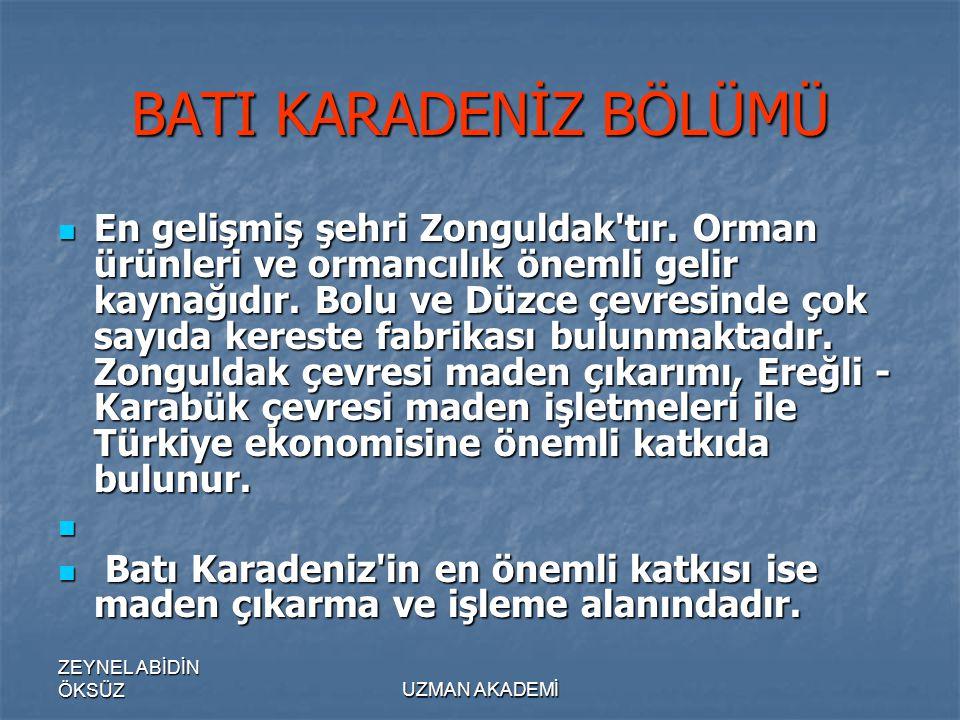 ZEYNEL ABİDİN ÖKSÜZUZMAN AKADEMİ BATI KARADENİZ BÖLÜMÜ  En gelişmiş şehri Zonguldak tır.