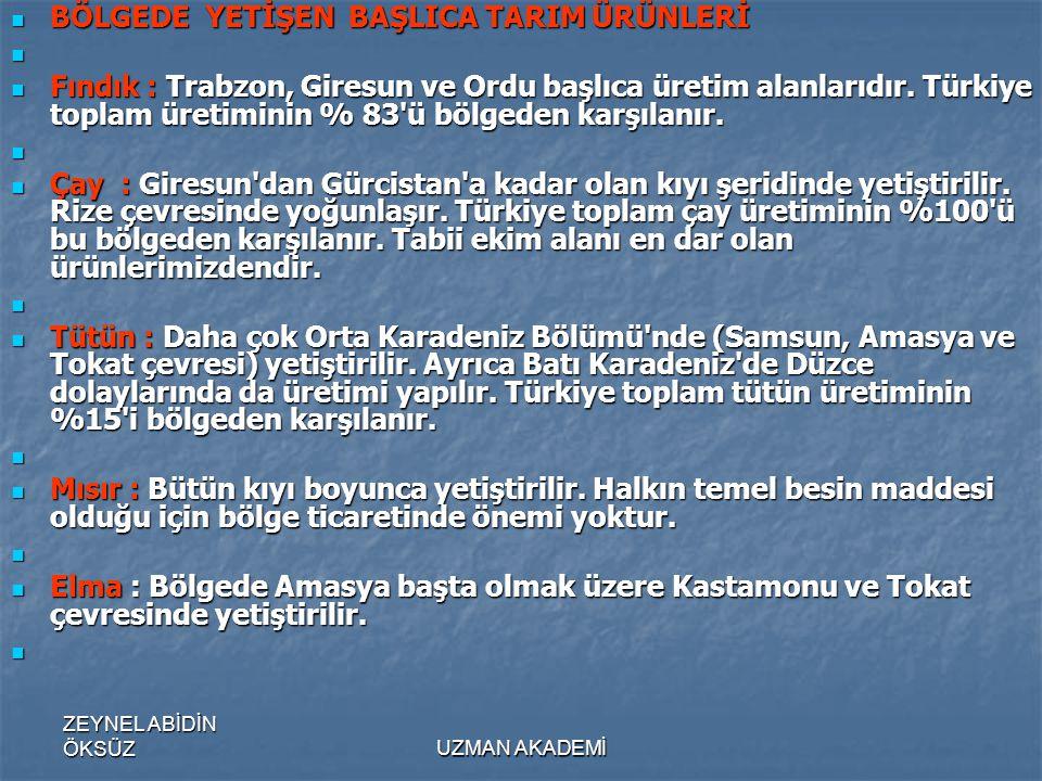 ZEYNEL ABİDİN ÖKSÜZUZMAN AKADEMİ  BÖLGEDE YETİŞEN BAŞLICA TARIM ÜRÜNLERİ   Fındık : Trabzon, Giresun ve Ordu başlıca üretim alanlarıdır.