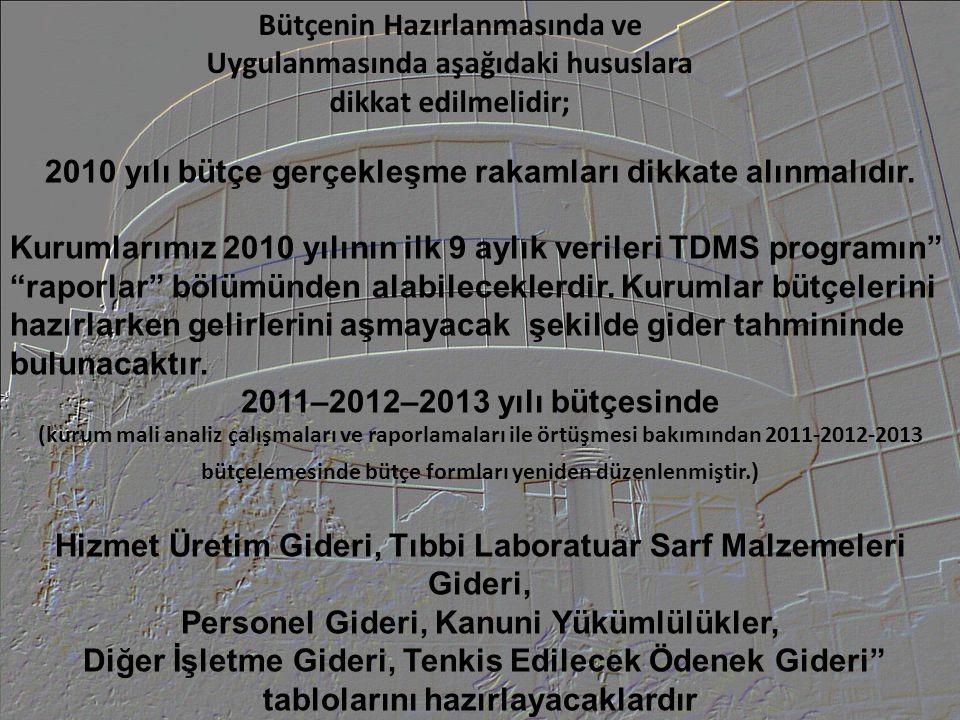 Bütçe hazırlanırken deflatör (bütçe artışı) oranı 2011 yılı için 5,8 olarak, 2012 yılında 5,3 olarak, 2013 yılında ise 4,8 olarak uygulanacaktır.