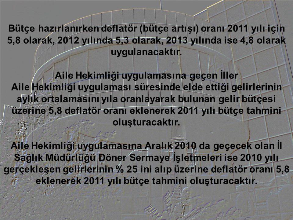 Bütçe hazırlanırken deflatör (bütçe artışı) oranı 2011 yılı için 5,8 olarak, 2012 yılında 5,3 olarak, 2013 yılında ise 4,8 olarak uygulanacaktır. Aile