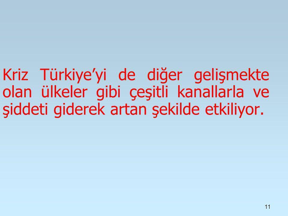 11 Kriz Türkiye'yi de diğer gelişmekte olan ülkeler gibi çeşitli kanallarla ve şiddeti giderek artan şekilde etkiliyor.