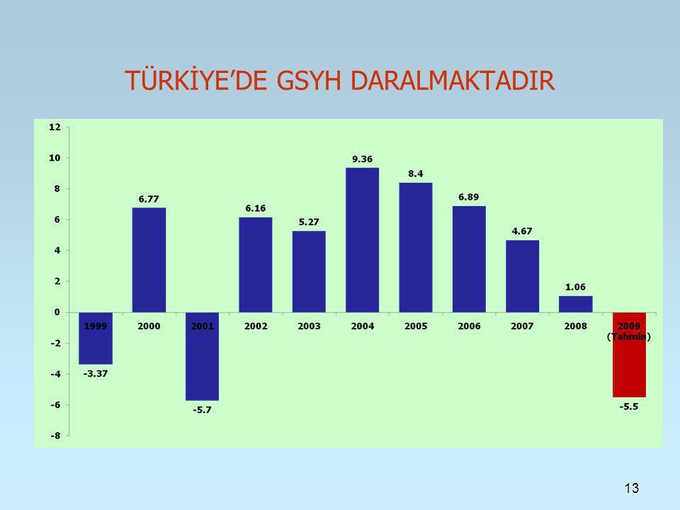 13 TÜRKİYE'DE GSYH DARALMAKTADIR