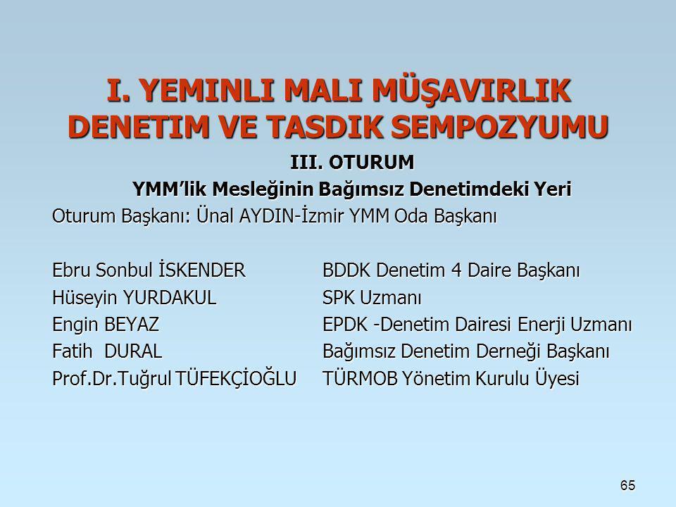 65 I.YEMINLI MALI MÜŞAVIRLIK DENETIM VE TASDIK SEMPOZYUMU III.