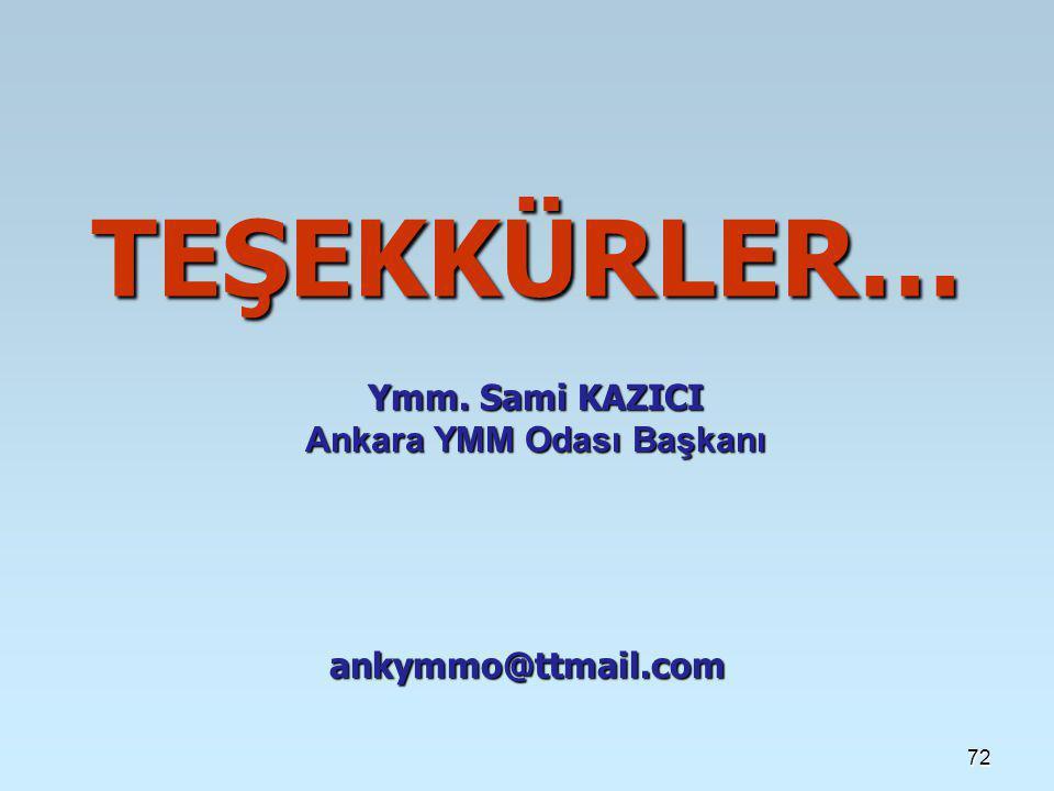 72 TEŞEKKÜRLER… ankymmo@ttmail.com Ymm. Sami KAZICI Ankara YMM Odası Başkanı