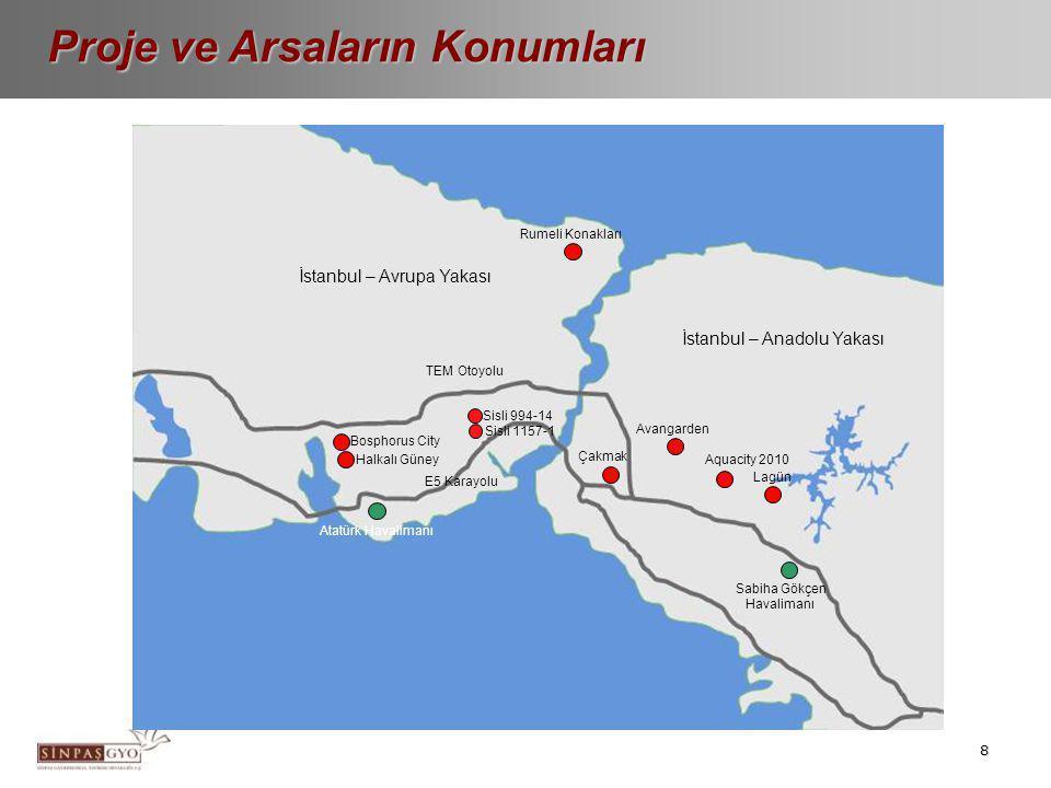 8 Proje ve Arsaların Konumları Rumeli Konakları Avangarden Çakmak Lagün Aquacity 2010 Bosphorus City Atatürk Havalimanı Sabiha Gökçen Havalimanı İstan