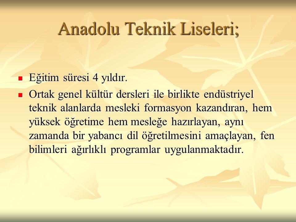 Anadolu Meslek Liseleri;  Eğitim süresi 4 yıldır.
