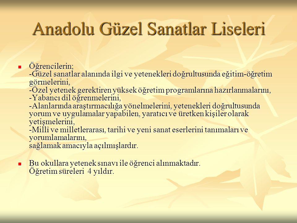 Anadolu Güzel Sanatlar Liseleri  Öğrencilerin; -Güzel sanatlar alanında ilgi ve yetenekleri doğrultusunda eğitim-öğretim görmelerini, -Özel yetenek g