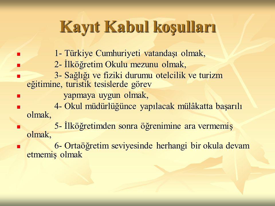 Kayıt Kabul koşulları  1- Türkiye Cumhuriyeti vatandaşı olmak,  2- İlköğretim Okulu mezunu olmak,  3- Sağlığı ve fiziki durumu otelcilik ve turizm