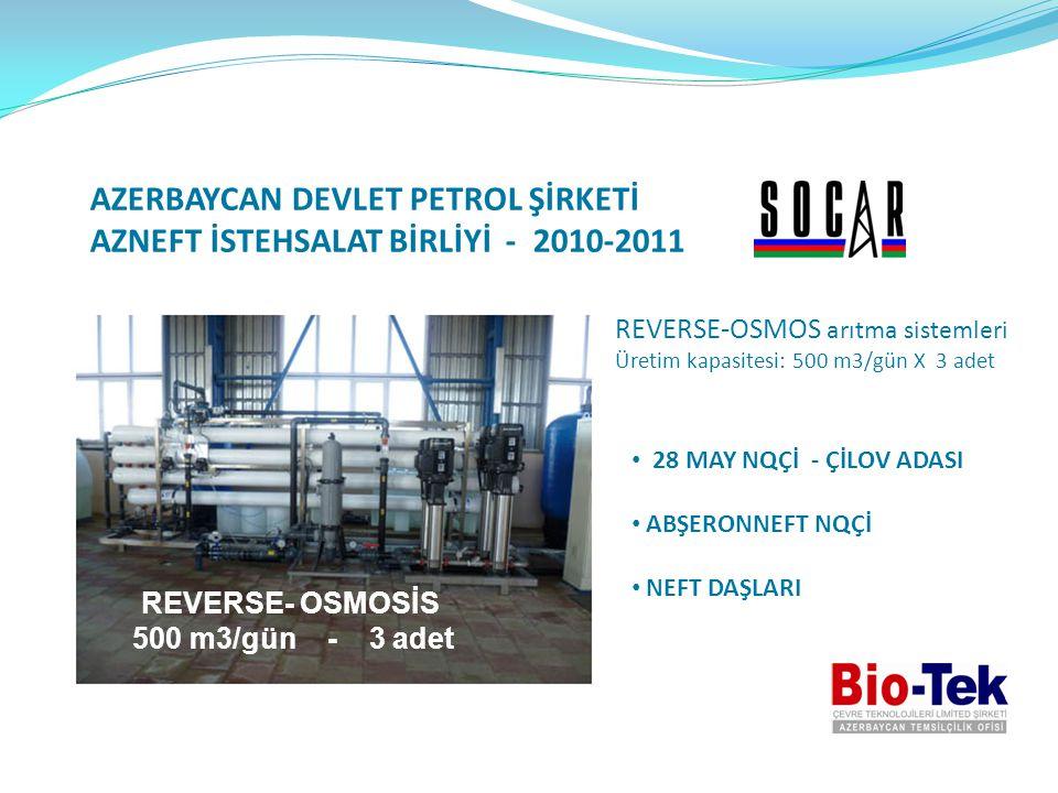 AZERBAYCAN DEVLET PETROL ŞİRKETİ AZNEFT İSTEHSALAT BİRLİYİ - 2010-2011 REVERSE-OSMOS arıtma sistemleri Üretim kapasitesi: 500 m3/gün X 3 adet • 28 MAY
