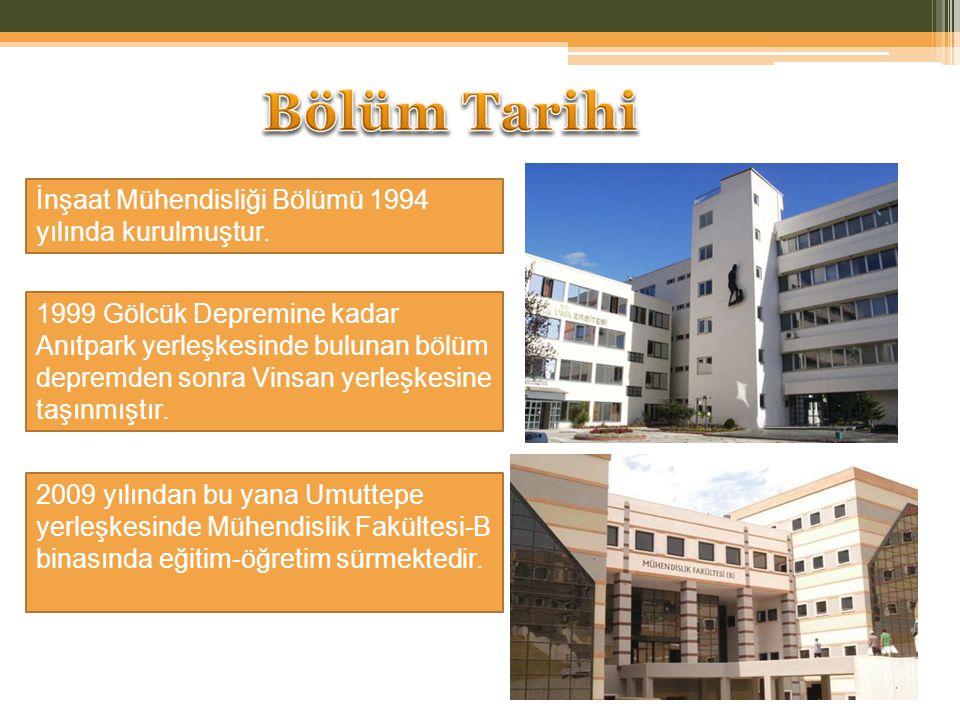 İnşaat Mühendisliği Bölümü 1994 yılında kurulmuştur. 1999 Gölcük Depremine kadar Anıtpark yerleşkesinde bulunan bölüm depremden sonra Vinsan yerleşkes