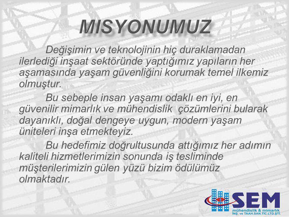 Değişimin ve teknolojinin hiç duraklamadan ilerlediği inşaat sektöründe yaptığımız yapıların her aşamasında yaşam güvenliğini korumak temel ilkemiz olmuştur.