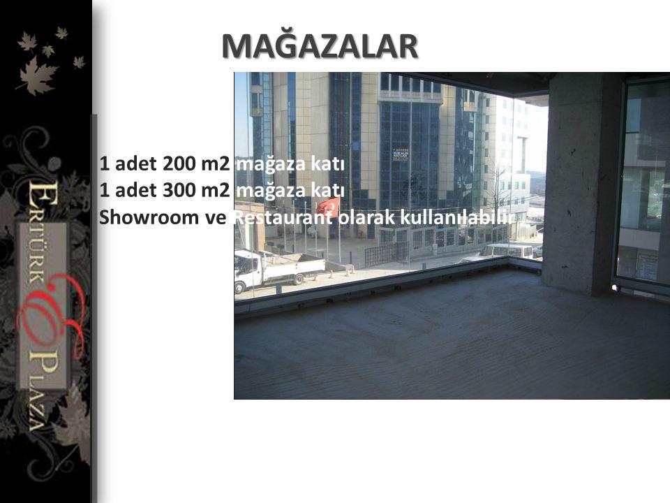 MAĞAZALAR 1 adet 200 m2 mağaza katı 1 adet 300 m2 mağaza katı Showroom ve Restaurant olarak kullanılabilir