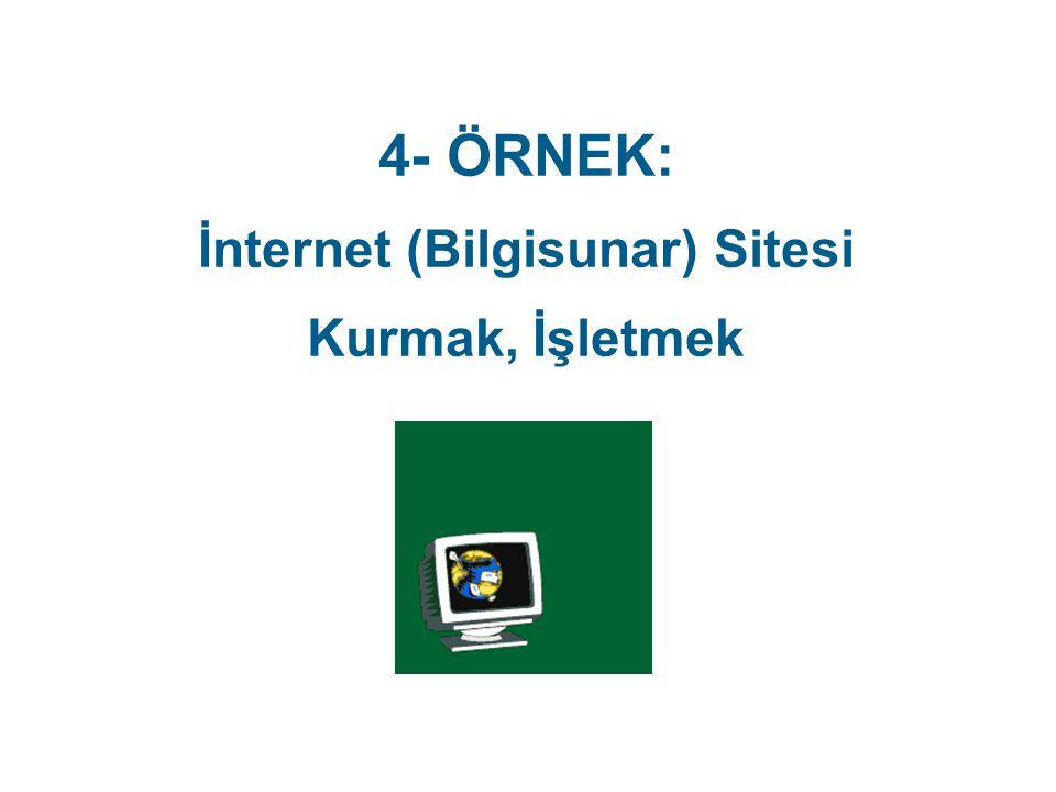 4- ÖRNEK: İnternet (Bilgisunar) Sitesi Kurmak, İşletmek