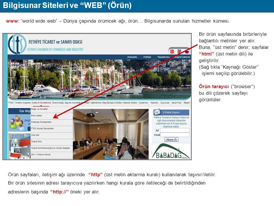 """Bilgisunar Siteleri ve """"WEB"""" (Örün) www: """"world wide web"""" – Dünya çapında örümcek ağı, örün… Bilgisunarda sunulan hizmetler kümesi. Bir örün sayfasınd"""