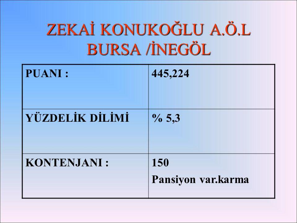 Orhangazi Orhangazi Anadolu Öğretmen lisesi : Taban puanı:411,491 Kontenjan:180 Pansiyon yok.