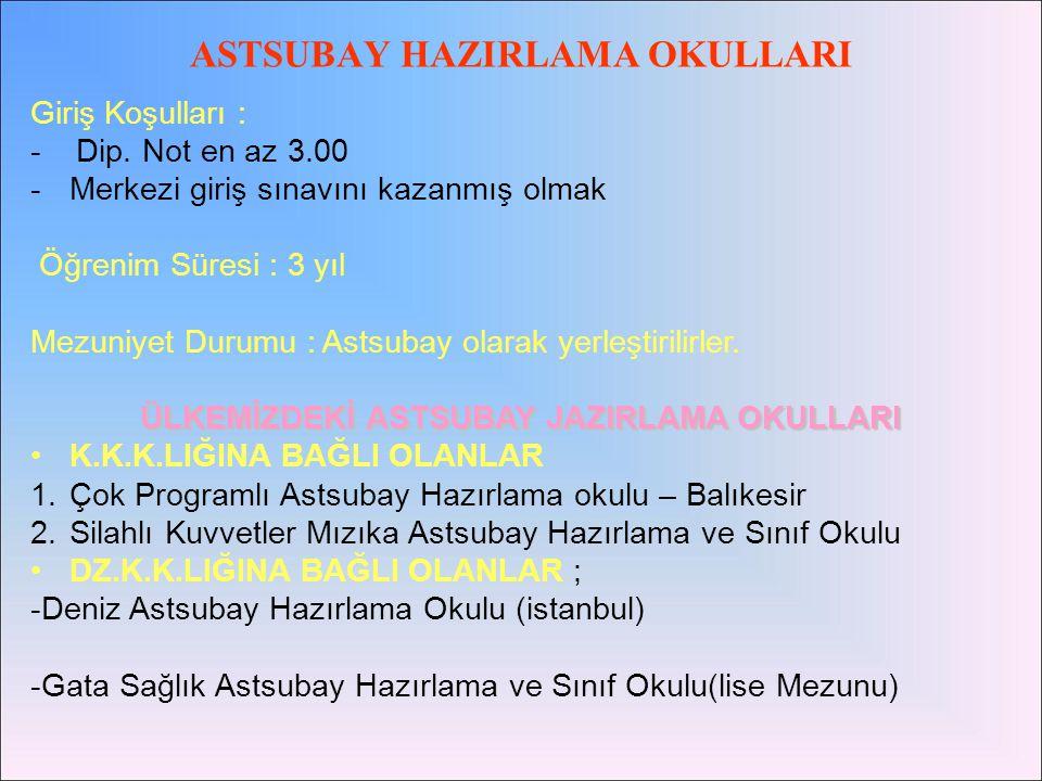 •HAVA HARP OKULU (İstanbul) •KARA HARP OKULU (İstanbul) •DENİZ HARP OKULU (İstanbul) •Hava astsubay meslek yüksek okulu (İzmir)
