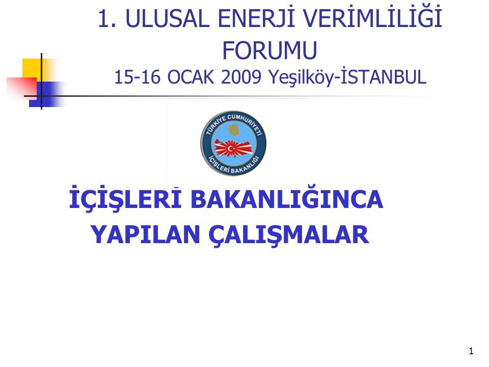 1 1. ULUSAL ENERJİ VERİMLİLİĞİ FORUMU 15-16 OCAK 2009 Yeşilköy-İSTANBUL İÇİŞLERİ BAKANLIĞINCA YAPILAN ÇALIŞMALAR
