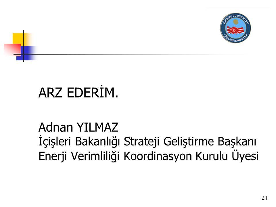 24 ARZ EDERİM. Adnan YILMAZ İçişleri Bakanlığı Strateji Geliştirme Başkanı Enerji Verimliliği Koordinasyon Kurulu Üyesi
