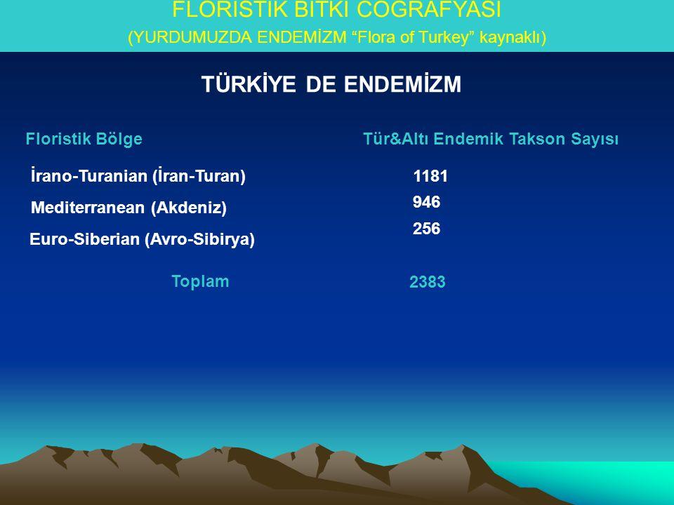 FLORİSTİK BİTKİ COĞRAFYASI (YURDUMUZDA ENDEMİZM Flora of Turkey kaynaklı) Floristik BölgeTür&Altı Endemik Takson Sayısı İrano-Turanian (İran-Turan) Mediterranean (Akdeniz) Euro-Siberian (Avro-Sibirya) 1181 946 256 Toplam 2383 TÜRKİYE DE ENDEMİZM