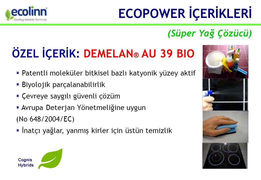  Patentli moleküler bitkisel bazlı katyonik yüzey aktif  Biyolojik parçalanabilirlik  Çevreye saygılı güvenli çözüm  Avrupa Deterjan Yönetmeliğine uygun (No 648/2004/EC)  İnatçı yağlar, yanmış kirler için üstün temizlik ÖZEL İÇERİK: DEMELAN ® AU 39 BIO Cognis Hybrids ECOPOWER İÇERİKLERİ (Süper Yağ Çözücü)