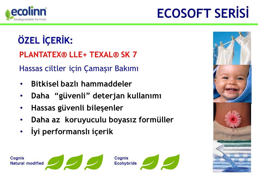 • Bitkisel bazlı hammaddeler • Daha güvenli deterjan kullanımı • Hassas güvenli bileşenler • Daha az koruyuculu boyasız formüller • İyi performanslı içerik PLANTATEX® LLE+ TEXAL® SK 7 Hassas ciltler için Çamaşır Bakımı Cognis Natural modified Cognis Ecohybrids ECOSOFT SERİSİ ÖZEL İÇERİK: