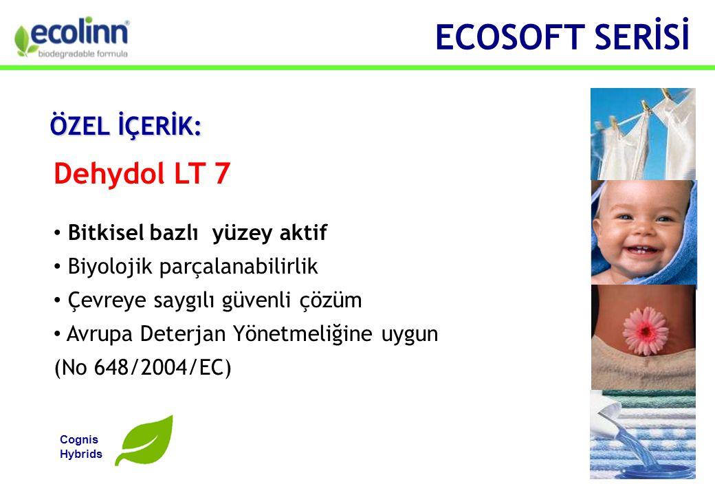 Dehydol LT 7 • Bitkisel bazlı yüzey aktif • Biyolojik parçalanabilirlik • Çevreye saygılı güvenli çözüm • Avrupa Deterjan Yönetmeliğine uygun (No 648/2004/EC) Cognis Hybrids ECOSOFT SERİSİ ÖZEL İÇERİK: