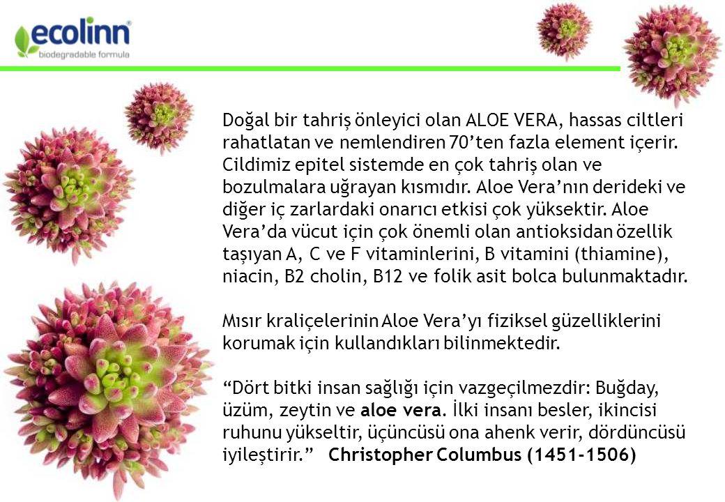 Doğal bir tahriş önleyici olan ALOE VERA, hassas ciltleri rahatlatan ve nemlendiren 70'ten fazla element içerir.
