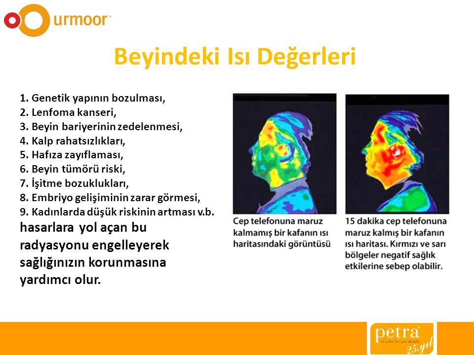 Beyindeki Isı Değerleri 1. Genetik yapının bozulması, 2. Lenfoma kanseri, 3. Beyin bariyerinin zedelenmesi, 4. Kalp rahatsızlıkları, 5. Hafıza zayıfla