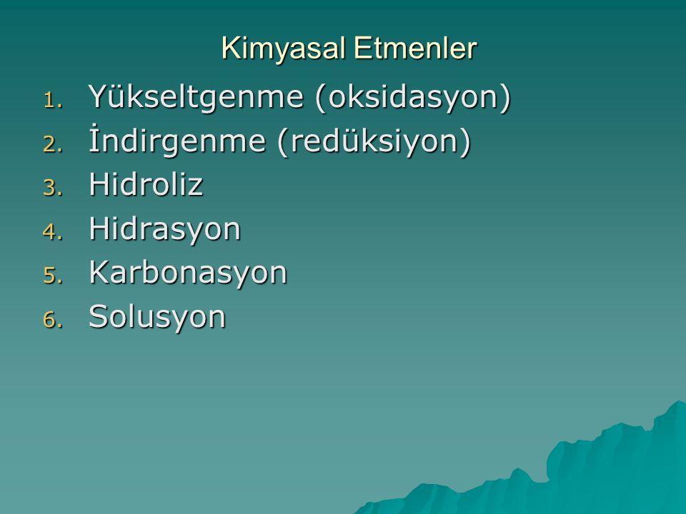 Kimyasal Etmenler 1. Yükseltgenme (oksidasyon) 2. İndirgenme (redüksiyon) 3. Hidroliz 4. Hidrasyon 5. Karbonasyon 6. Solusyon